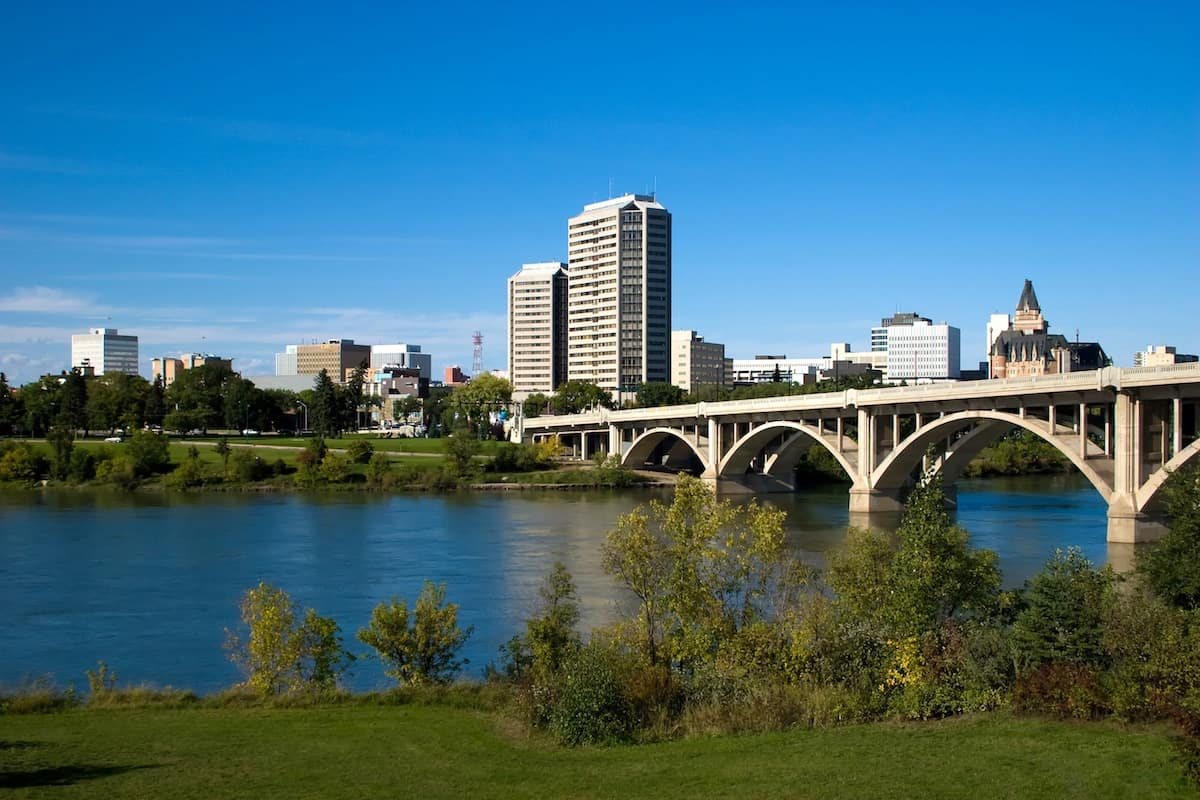 View of the broadway bridge in Saskatoon and riverbank